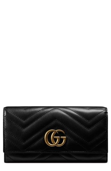 Gucci Black Marmont Gg Leather Continental Wallet - Tradesy