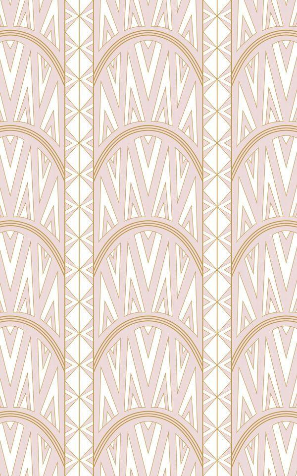 Pink Gatsby Themed Wallpaper | Art Deco Design | MuralsWallpaper