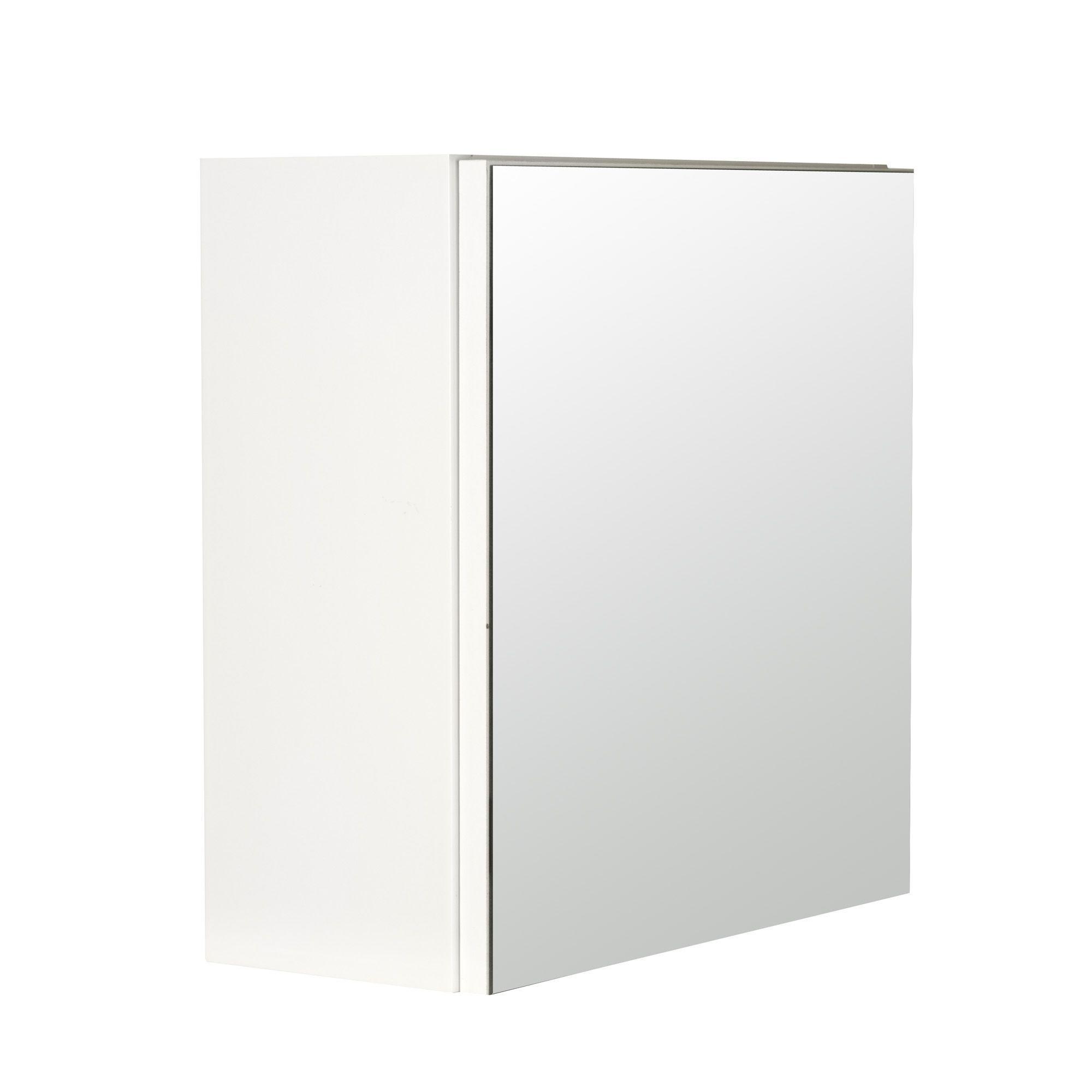Cube mural de salle de bain avec miroir blanc luxy les for Cube miroir habitat