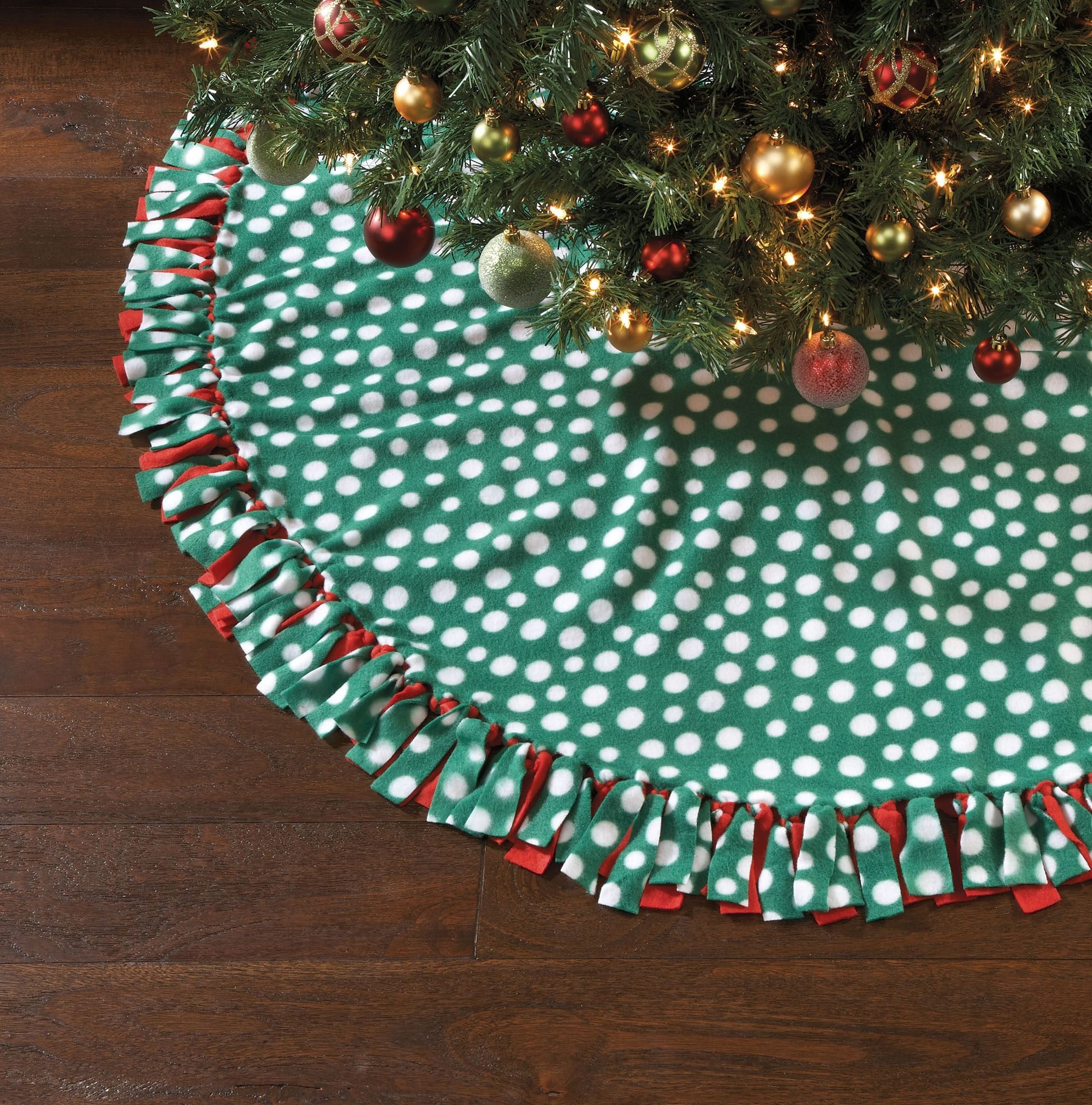No Sew Christmas Kit- Dotted Tree Skirt 60''No Sew ...