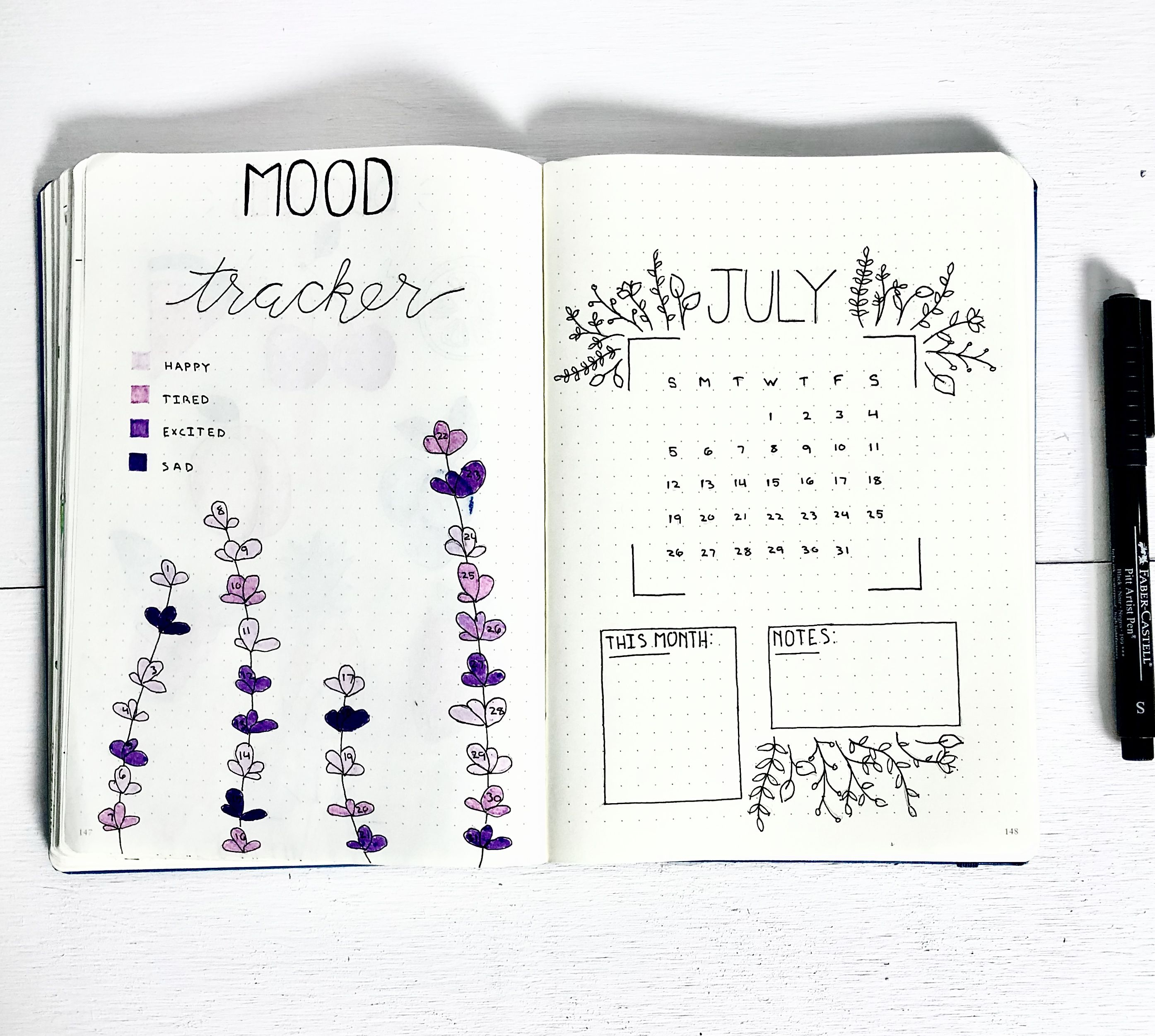 Bullet journal mood tracker and monthly cover