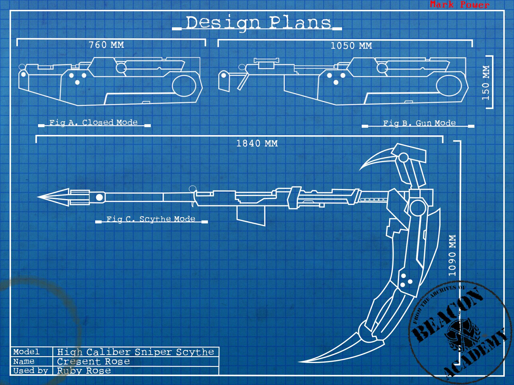 RWBY : Crescent Rose blueprints by crypticspider.deviantart.com on