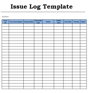Issue Log Template Templates Printable Free Templates Template Printable