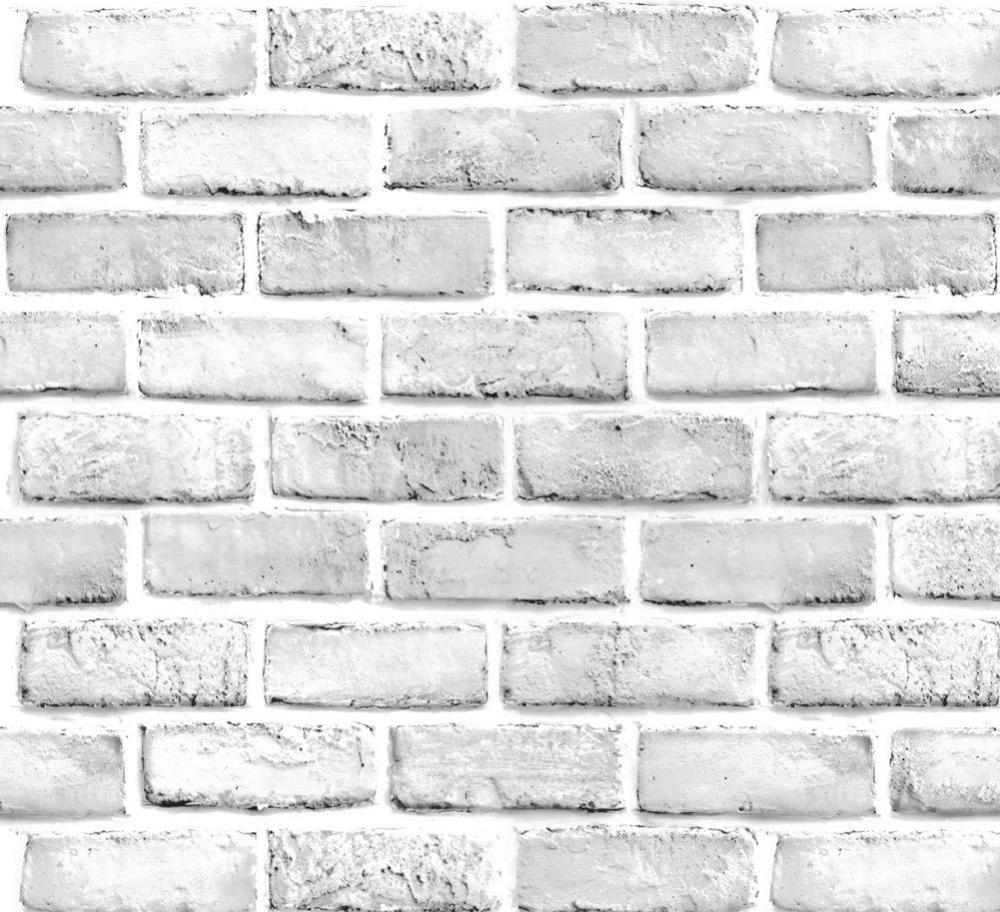 White Gray Brick Wallpaper