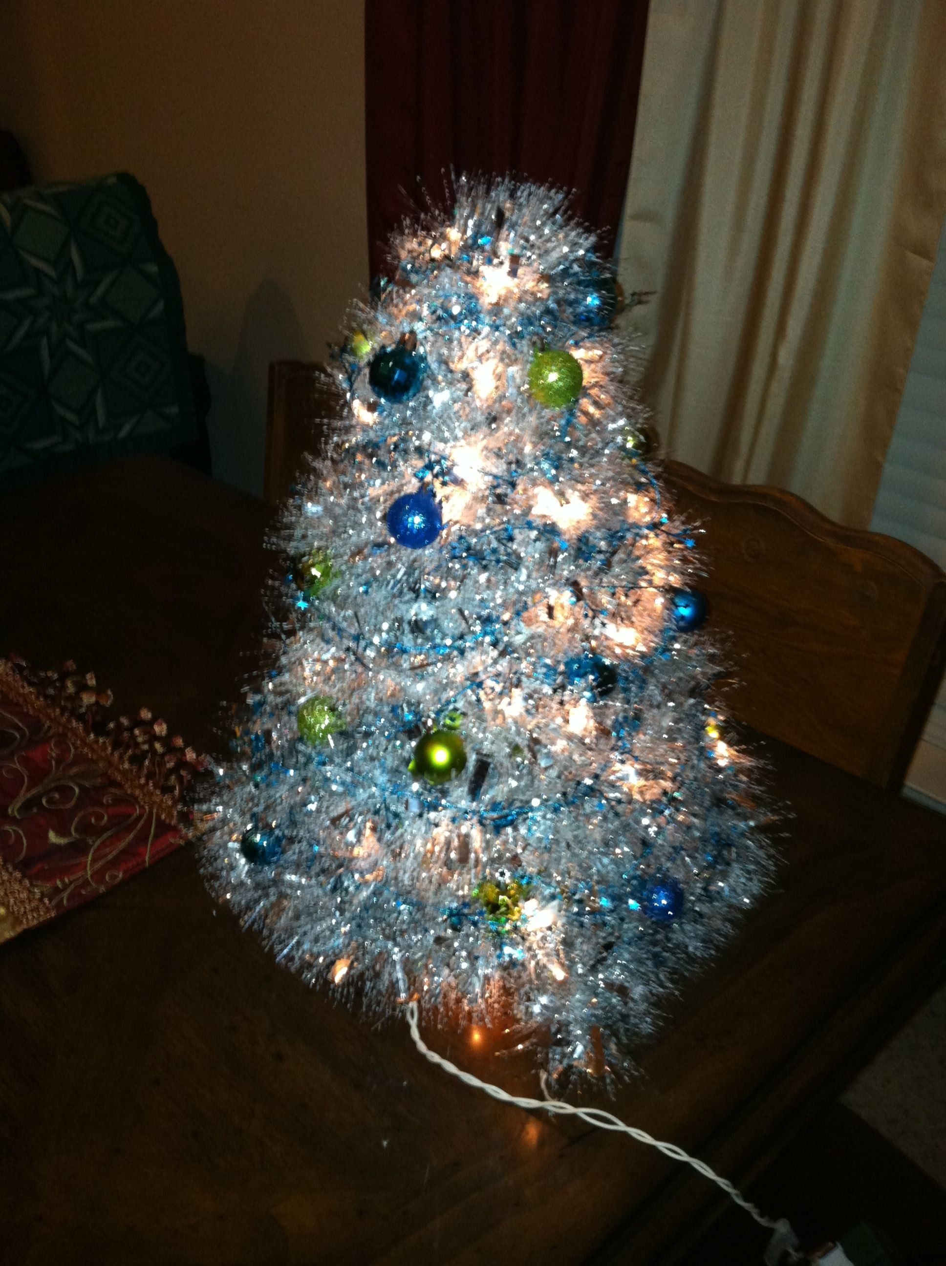 Christmas Tree. This is made from wire coat hangers wrapped with ...