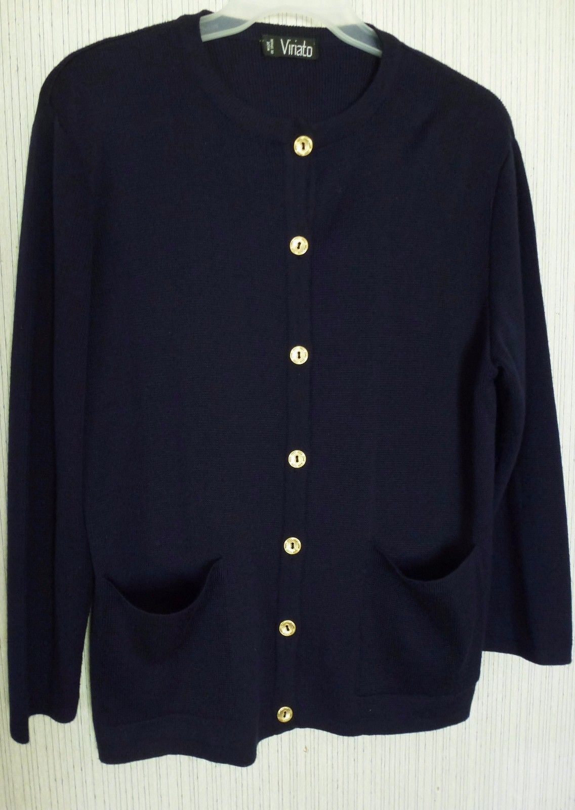 Virial women's cardigan sweater size xl navy blue gold buttons100 ...