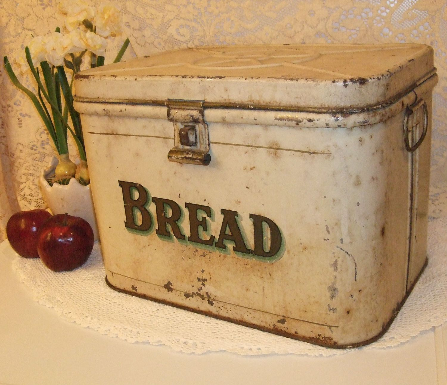 Antique Metal Bread Box by TheSweetBasilShoppe on Etsy - 1940s Metal Bread Box BREAD