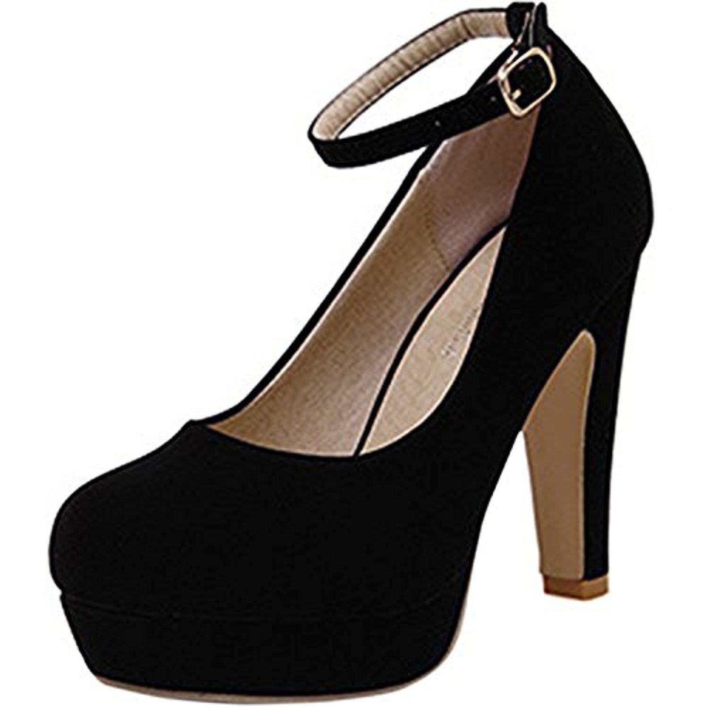 aab947c72c23 Scothen Femme Escarpins Bride Cheville Sexy Talon Aiguille Plateforme Epais  Fermeture Lacets Chaussures Club Soiree Talon