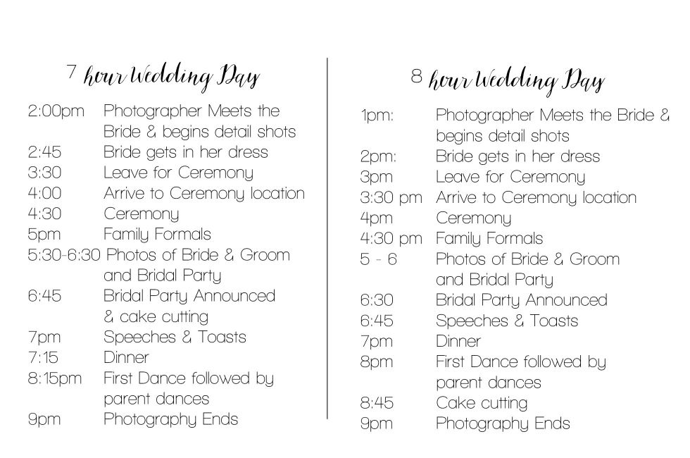 Wedding Timeline Example How To Create A Wedding Day