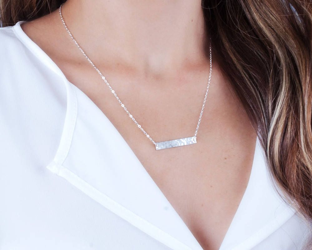 Bar Name Necklace, Bar Necklace Personalized, Hand Stamped Necklace, Custom Necklace, Name Bar,  Date Bar Necklace, Gold, Silver, NP1053