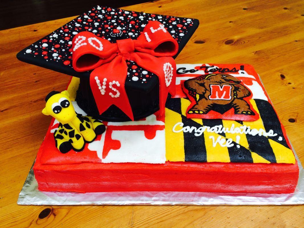 University of Maryland Graduation Cake with cap, Testudo, and ...