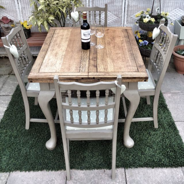 Antique shabby chic draw leaf dining table in Annie Sloan ...