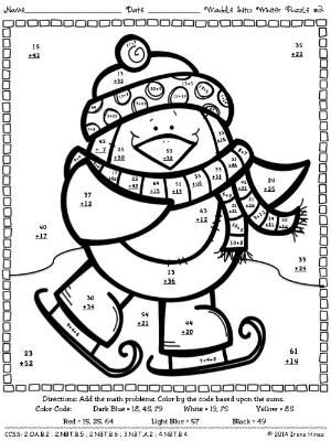 waddle into winter penguin math printables color by the code puzzles to practice math skills. Black Bedroom Furniture Sets. Home Design Ideas