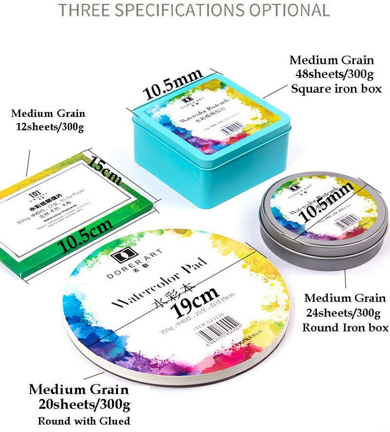Mini Diy Watercolor Pad 300g Medium Grain 12 20 24 48sheets