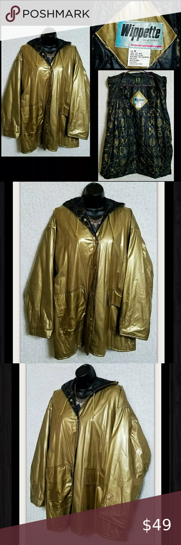 Vtg Wippette Gold Black Raincoat Hooded Jacket M In 2020 Hooded Jacket Shiny Jacket