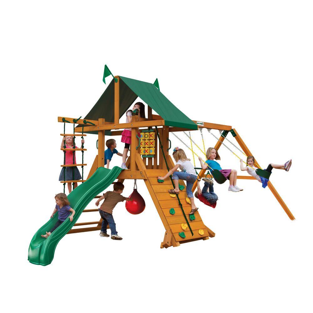 Details about kids wooden cedar swing set game yard super