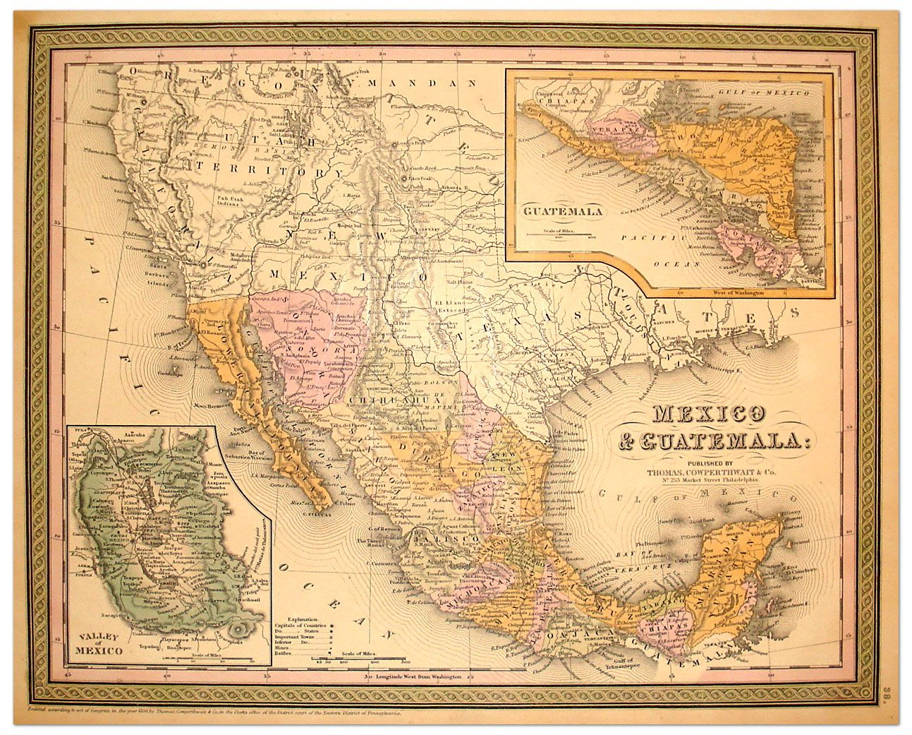 Mexico Map 1850.Mexico Map 1850 Mexico Unit Study Map Vintage Maps Old Maps