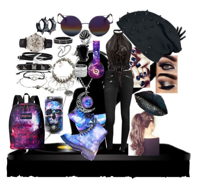 """""""Musiques de la galaxie"""" by sophia-pawz ❤ liked on Polyvore featuring rag & bone/JEAN, Matthew Williamson, Rodarte, JanSport, Beats by Dr. Dre, West Coast Jewelry, Casetify, Alex and Ani, Valentino and McQ by Alexander McQueen"""