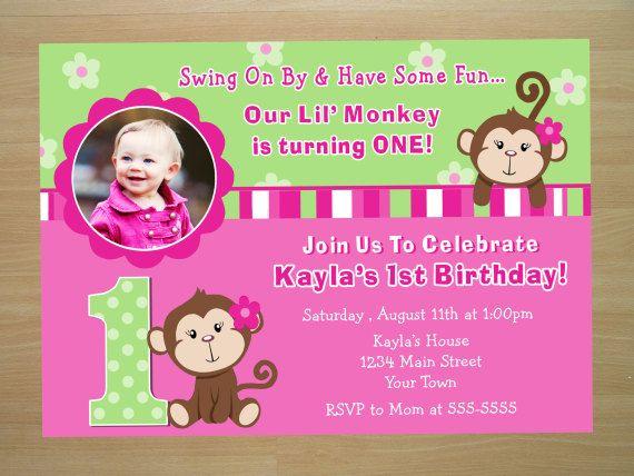 Monkey girl birthday invitation pink monkey invite girl monkey monkey girl 1st birthday invitation digital by squigglesdesigns filmwisefo