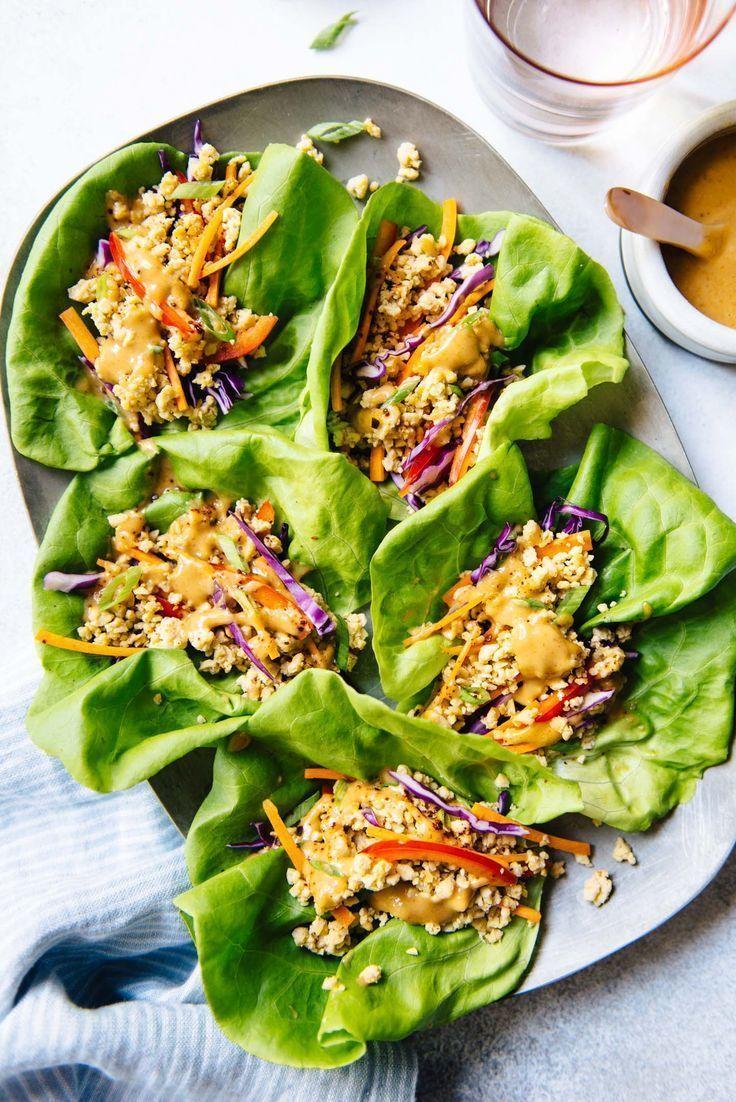 Tempeh Lettuce Wraps With Peanut Sauce Vegan