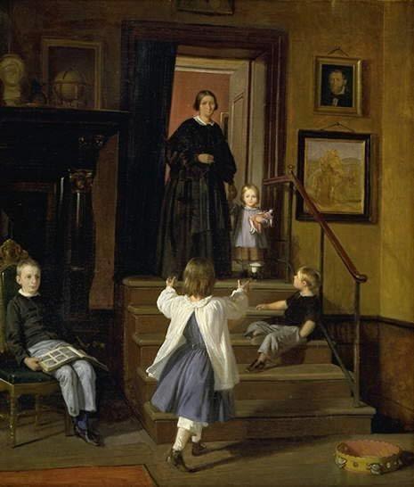 Wilhelm Marstrand (1810-1873): Kunstnerens hustru og børn i atelieret på Charlottenborg. 1861 - 1862; senere omarbejdet