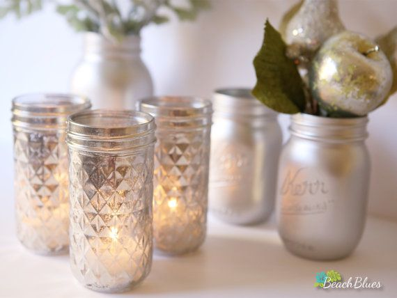 Mercury Glass Votives Mason Jar Candles Mercury Glass Votives