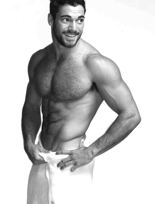 Sexy male poses in towels