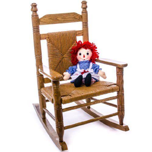Woven Child Seat Rocking Chair   Hardwood