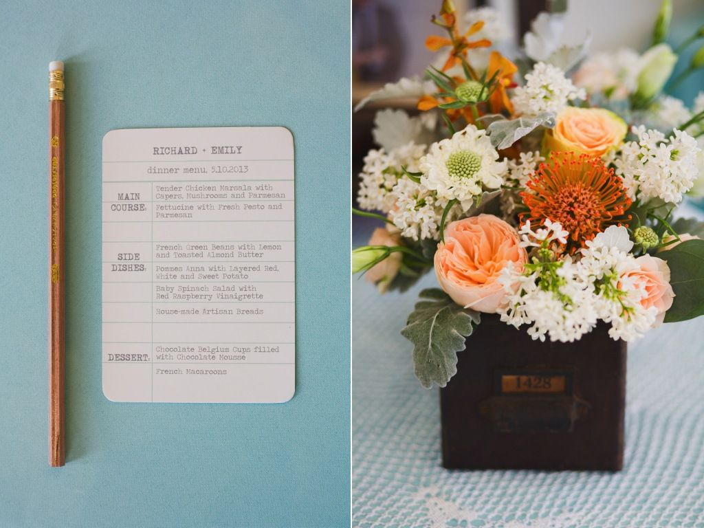 library inspired wedding vintage wood card catalogue