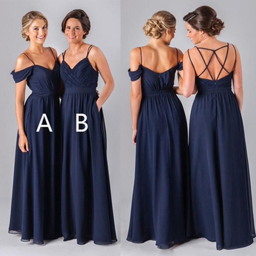 62f1af7661f Mismatched Different Styles Chiffon Navy Blue Floor-Length A Line Formal  Cheap Sexy Bridesmaid Dresses