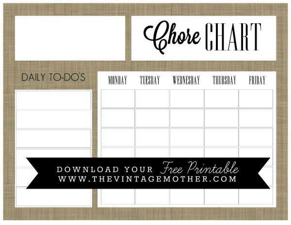 Free Printable Chore Chart The Vintage Mother  Free Printable