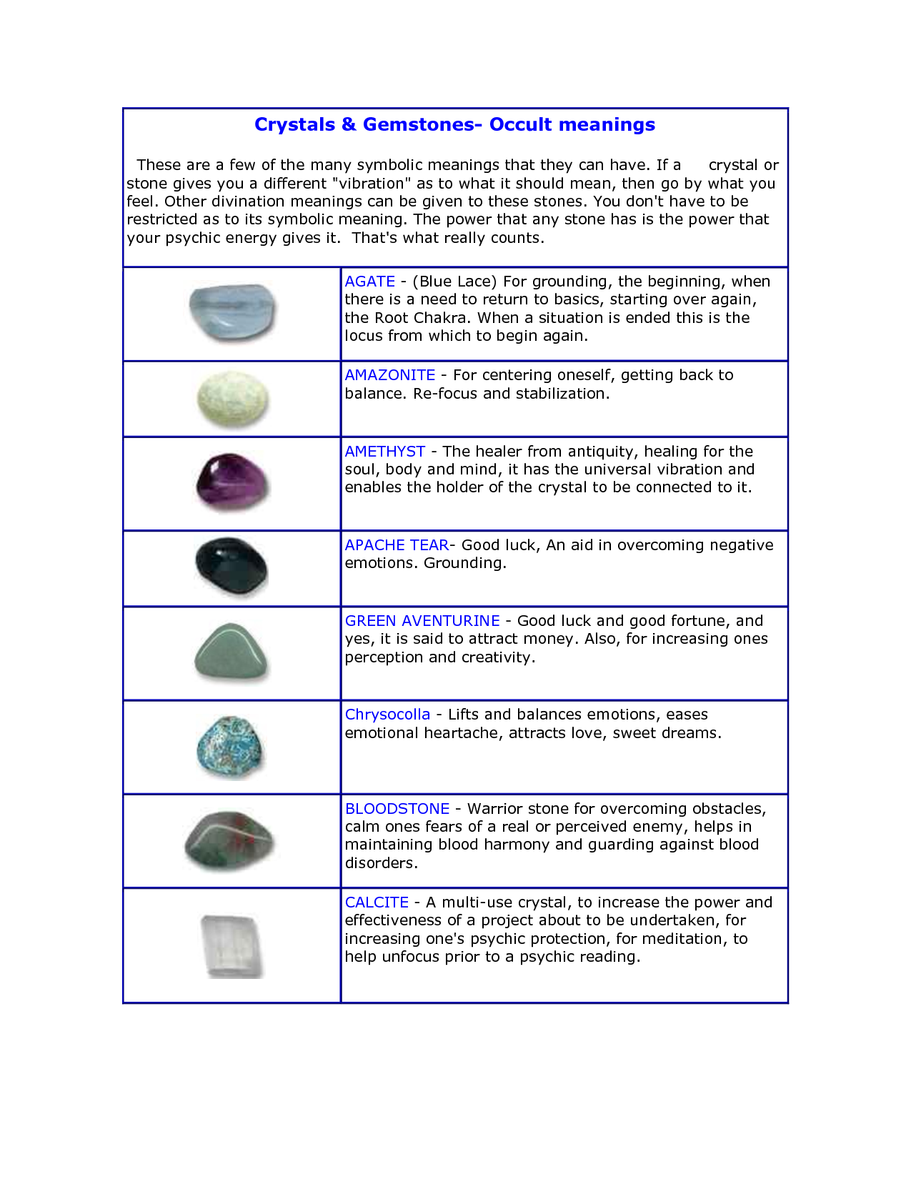 healing crystals and their meanings pdf