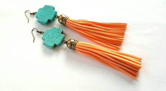 Turquoise cross and  tassel earrings bohemian earrings by Absynia