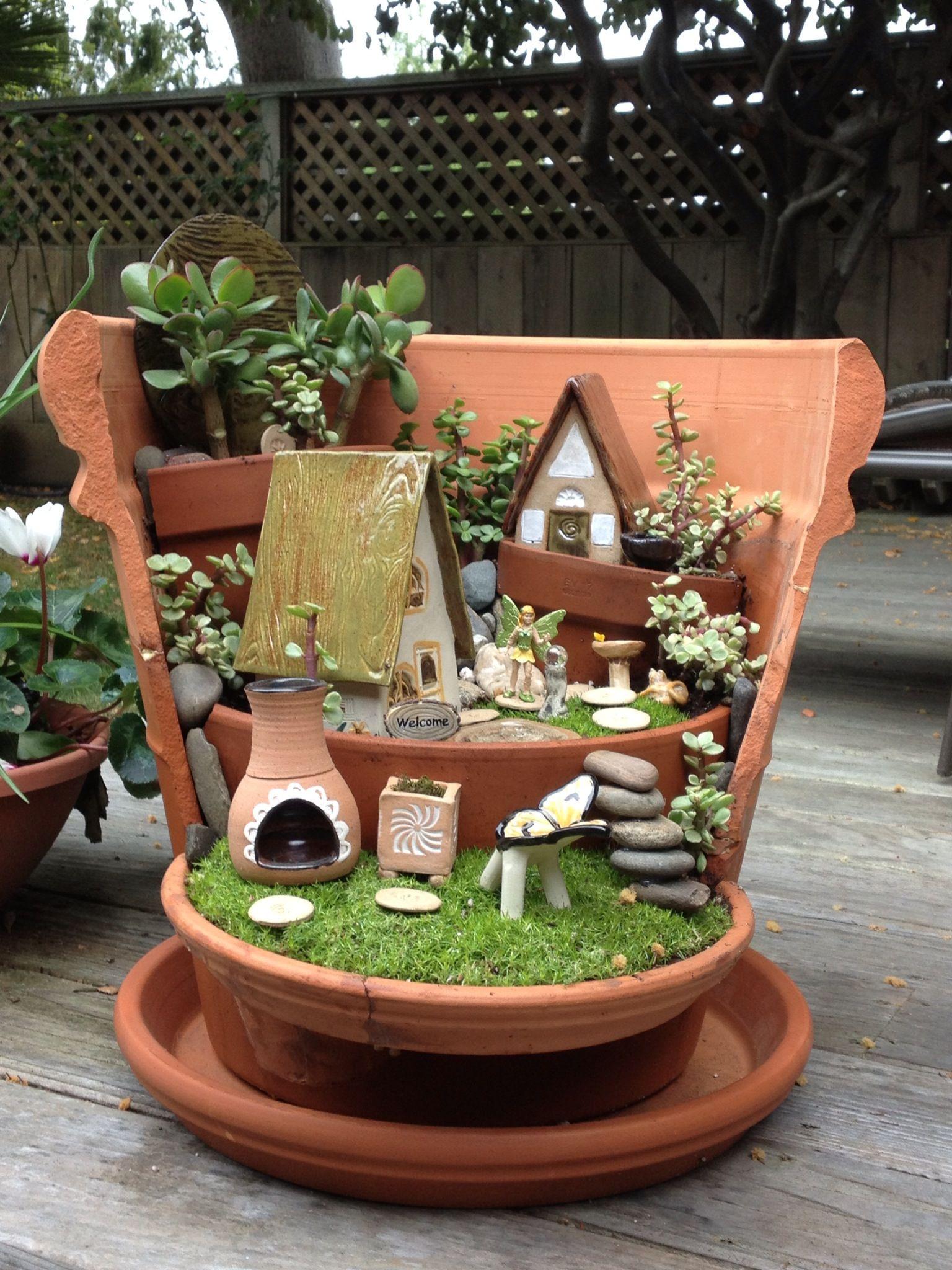 Fairy garden ornaments - Broken Pot Fairy Garden Tutorial With Video