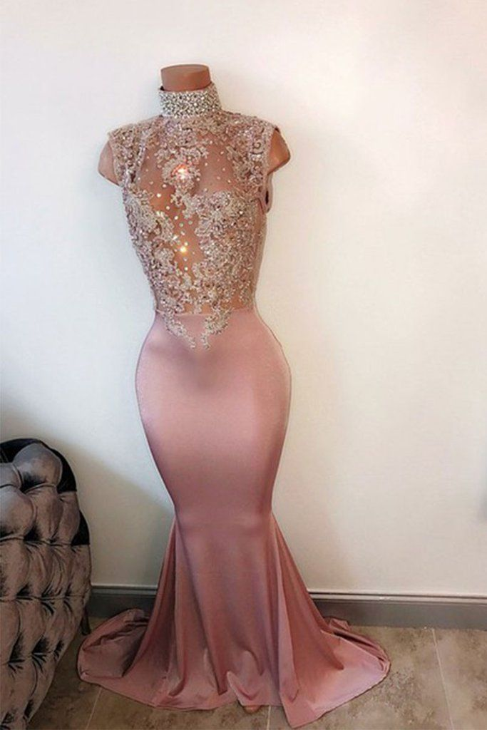 0cea8f802fda Pink high neck lace sequin mermaid long prom dress, evening dress in ...
