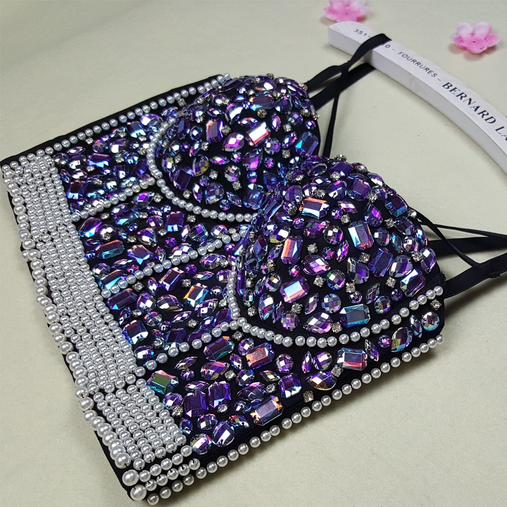 a08eeb3333cf3 New High Quality Handmade Sexy Women Crystal Rhinestone Embroidered Bra Top  Jeweled Beaded Bra Pearl Strip Bustier Cropped Top