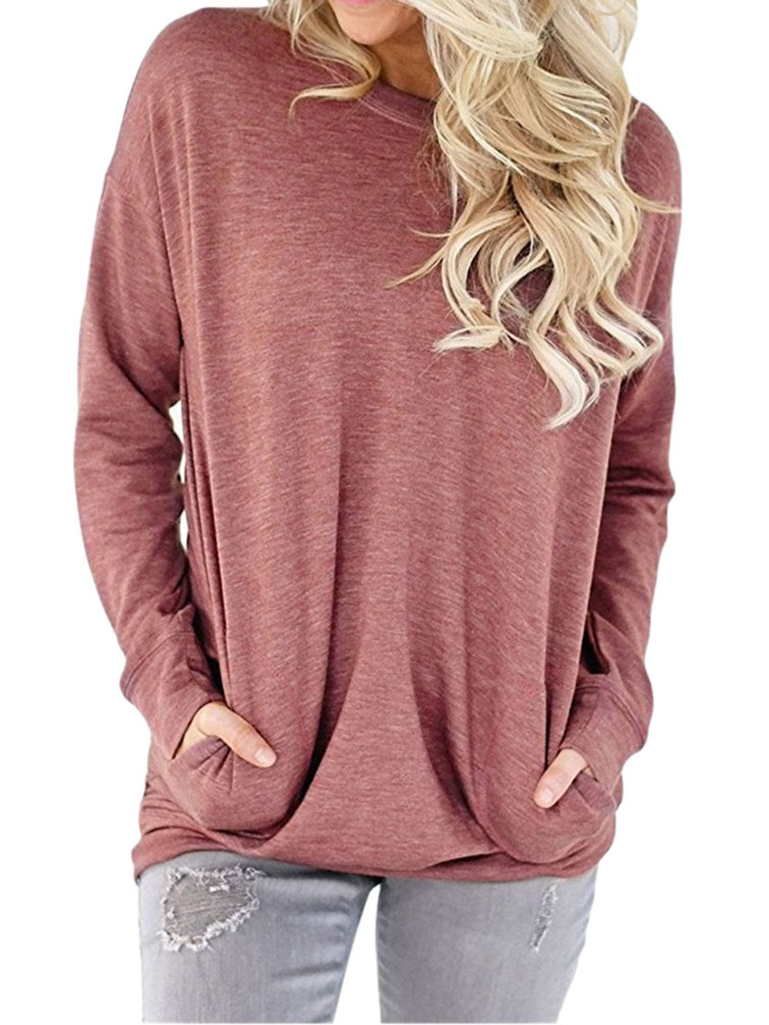 Women Long Sleeve High Neck Pocket Solid T Shirt Casual Loose Blouse Tunic Tops
