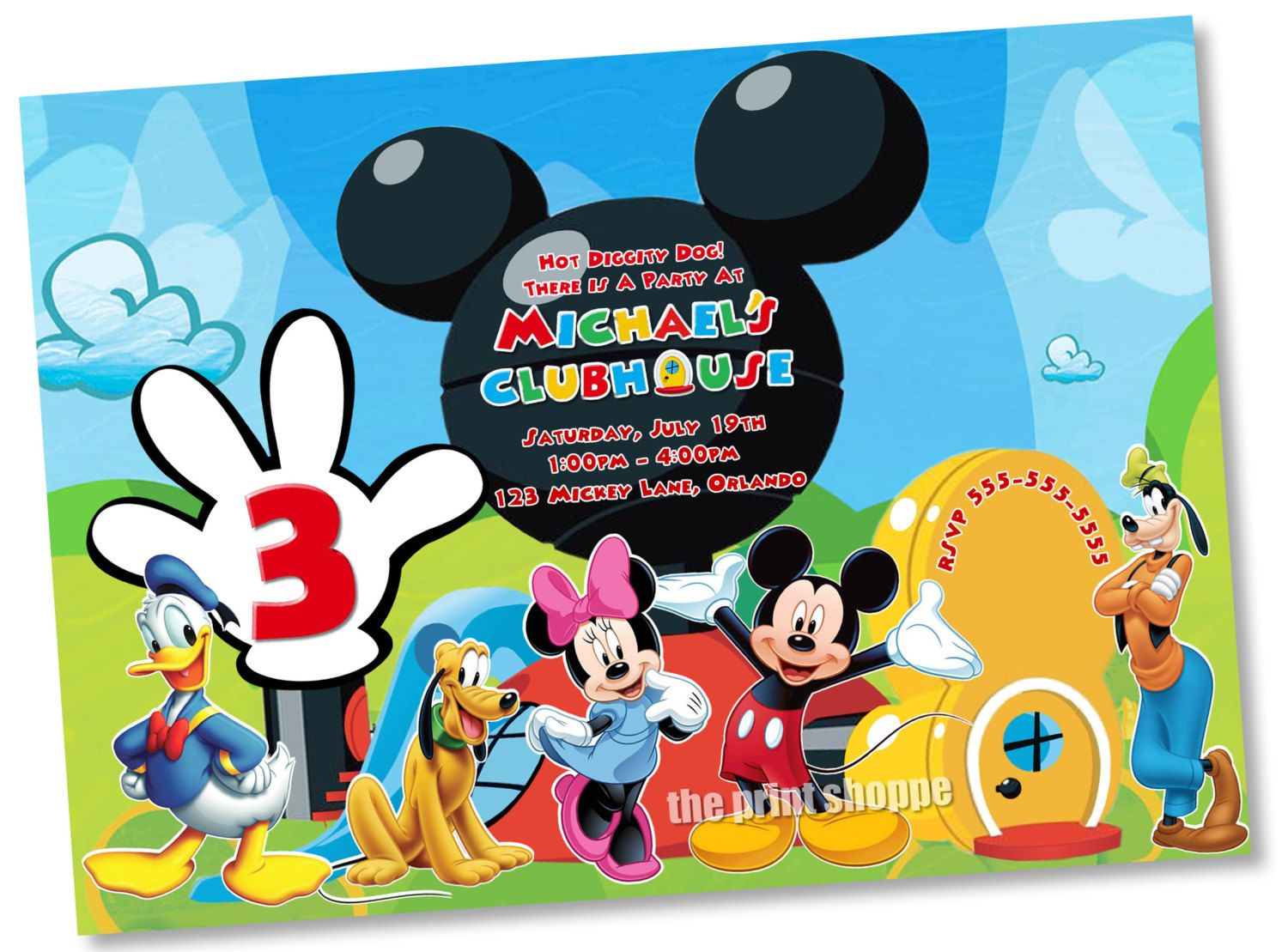 Marvelous Il_fullxfull.445316360_f5er (1500×1109) | Mickey Clubhouse Party |  Pinterest | Mickey Mouse, Invitations And Templates