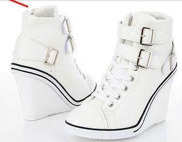 3ce837036daaf6 Womens Ladies White Buckles Sneakers Wedge High Heel Shoes Ankle Boots  Girls