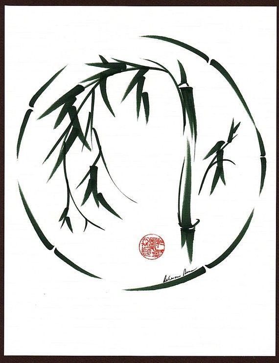 Original Enso Zen Painting Throw Pillows: VISIONNAIRE Original Sumi-e Enso Encre Brosse Lavage