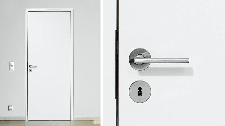Delightful Custom Interior Doors (Wood U0026 Glass): Interior Wood Doors   Flush With The  Wall Casing With Reveal, Rosette Flush CF1