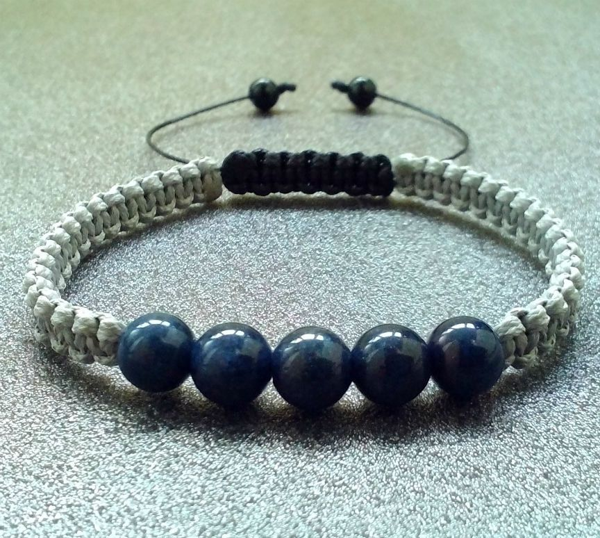 Men S Bracelet Lapis Stone Shamballa Beaded Wristband Braided Cuff Gift