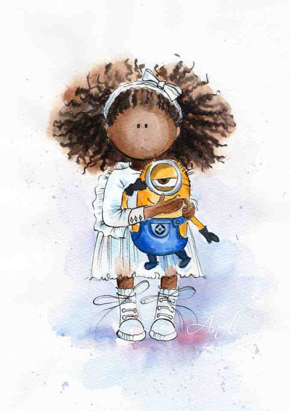African American Little Girl With Minion Watercolor