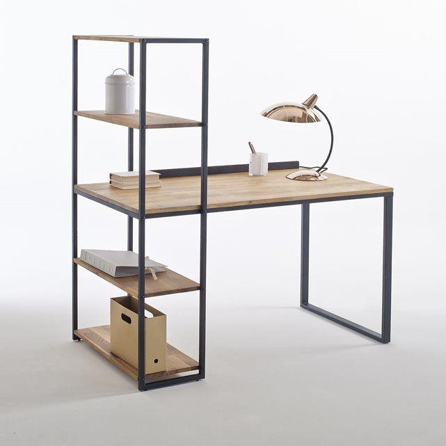 Bureau Bibliotheque Metal Et Chene Massif Hiba Meuble De Style Bibliotheque Metal Mobilier De Salon