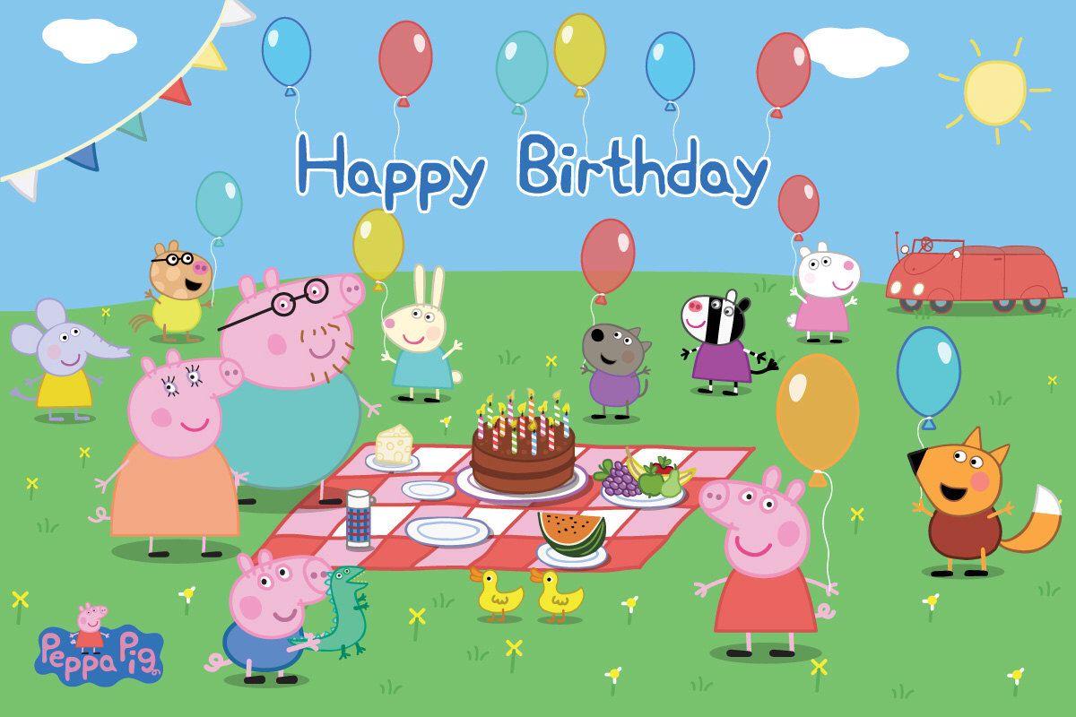 Мальчику, открытка пеппа с днем рождения