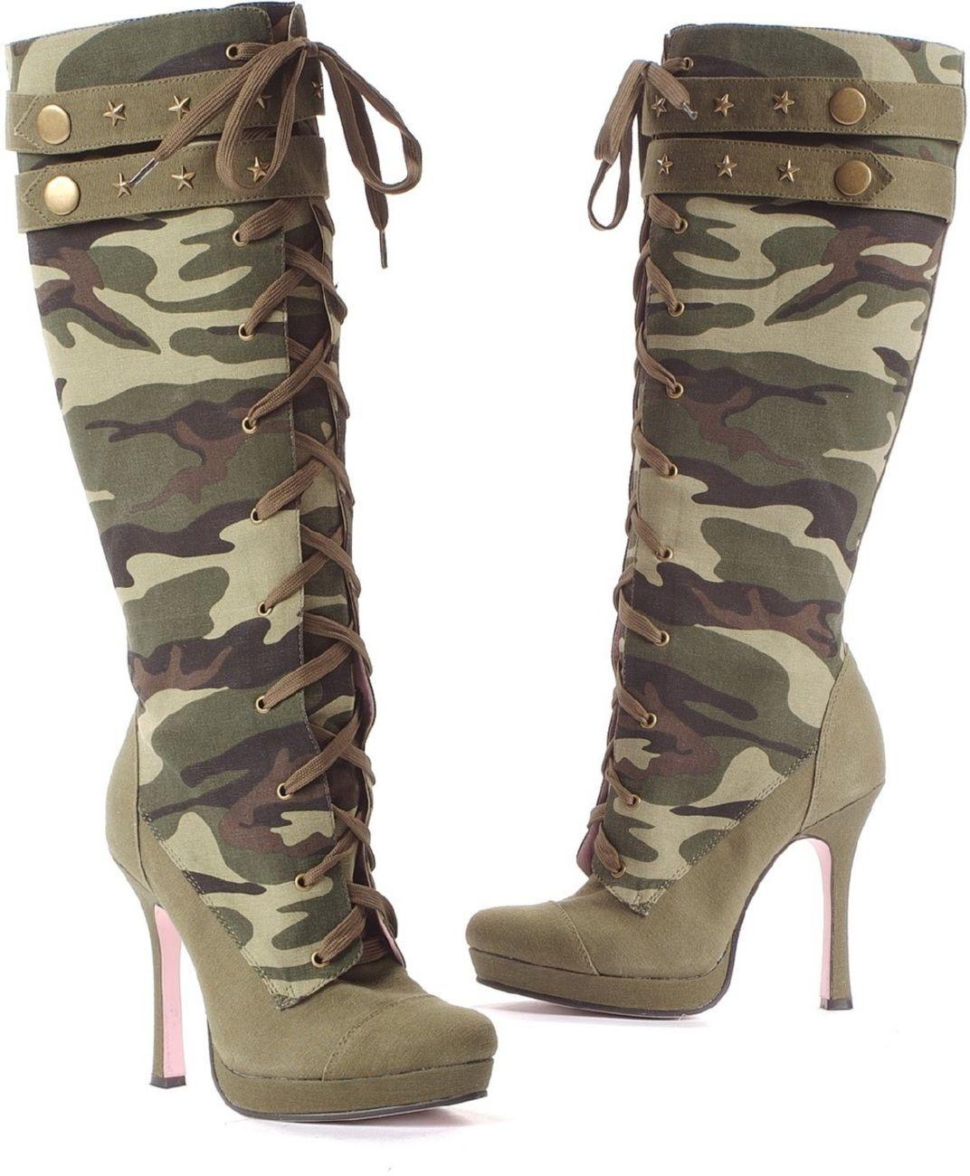 f527bfabceb Camo High Heel Boots Keywords: #weddings #jevelweddingplanning ...