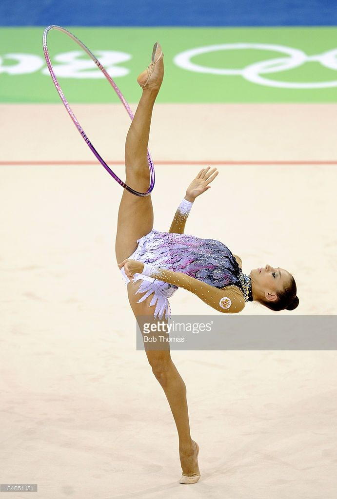 Evgeniya Kanaeva of Russia competes in the Individual All-Around final of the rhythmic gymnastics held at the University of Science and Technology Beijing Gymnasium on Day 15 of the Beijing 2008 Olympic Games on August 23, 2008 in Beijing, China.