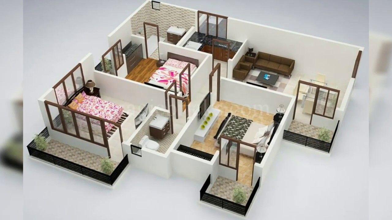3d Sectional Views Of Modern Houses Denah Rumah Tiga Kamar Tidur Denah Lantai Rumah Desain Rumah Kecil