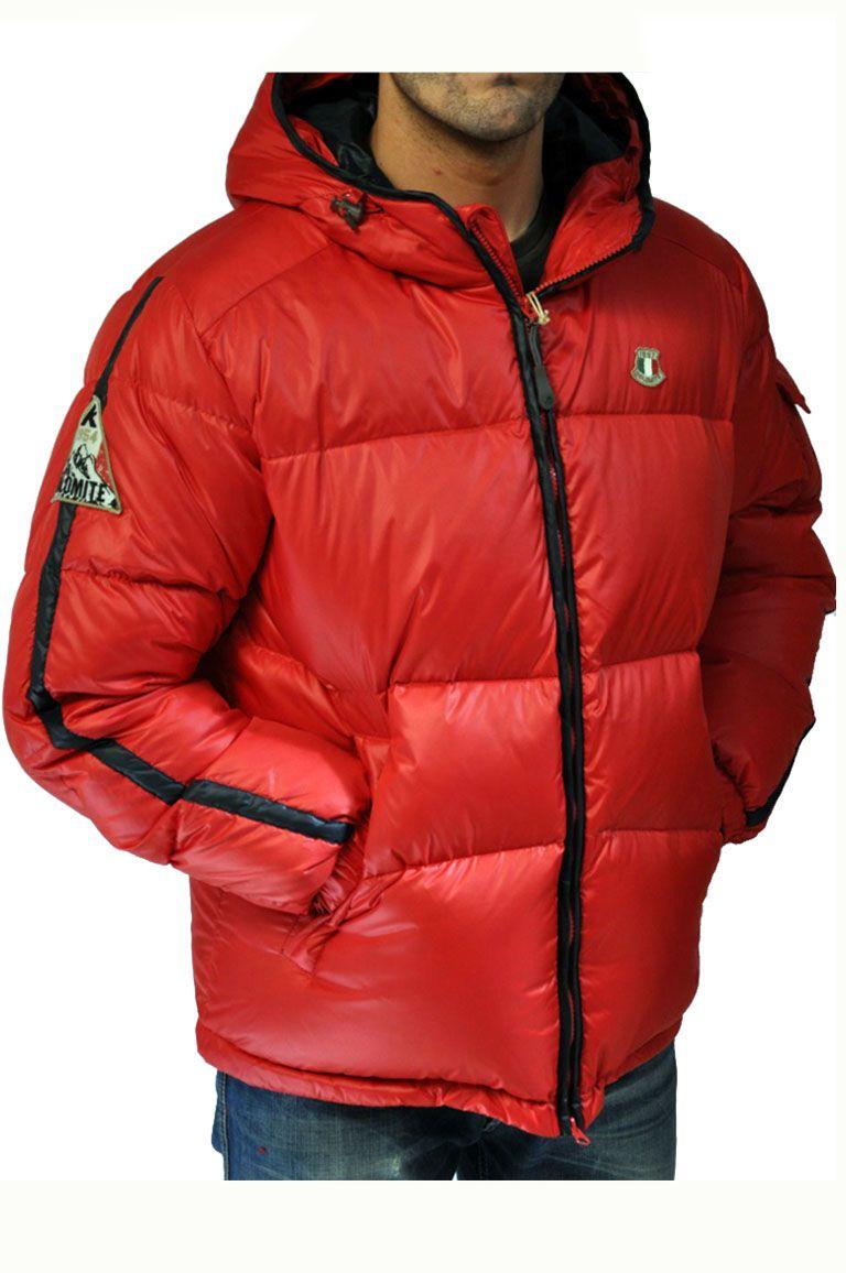 Piumino Dolomite rosso con cappuccio   Giubbotto invernale