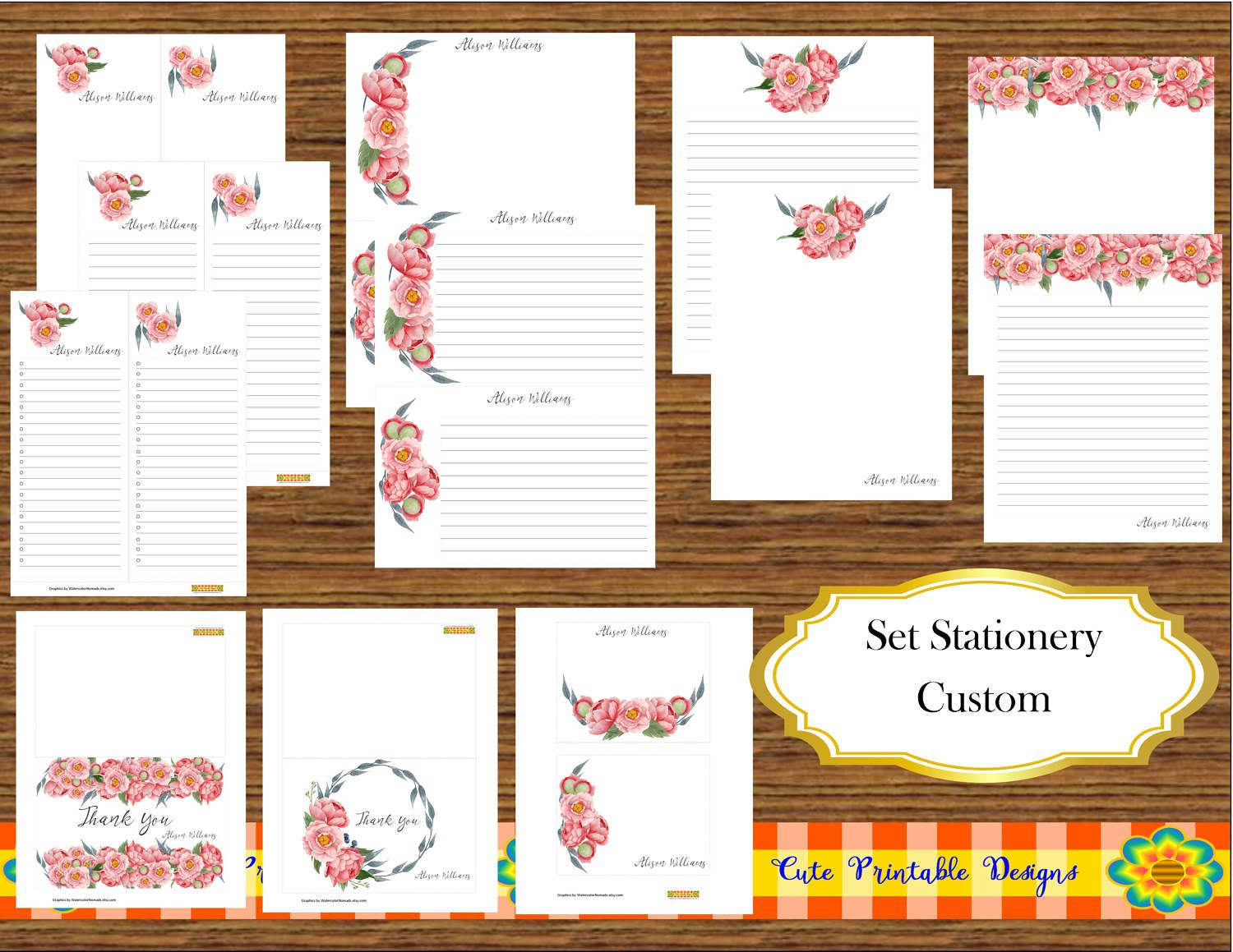 Printable Note Cards Watercolor Stationery Set Custom Personalized Printable
